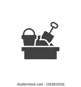 Sandbox and toys vector icon. filled flat sign for mobile concept and web design. Sandbox with spade and bucket glyph icon. Symbol, logo illustration. Pixel perfect vector graphics