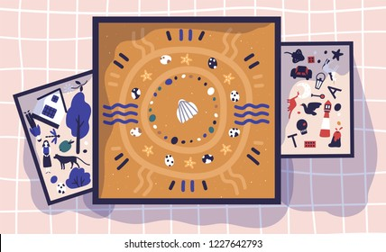 Sandboxes, trays or boxes with sand and miniature toy figures. Sandplay therapy, psychotherapeutic practice, therapeutic method of treatment through play. Vector illustration in flat cartoon style.