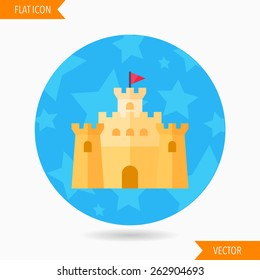 sandcastle flat icon with long shadow on blue circle background , vector illustration , eps10