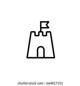 sandcastle icon thin line black on white background