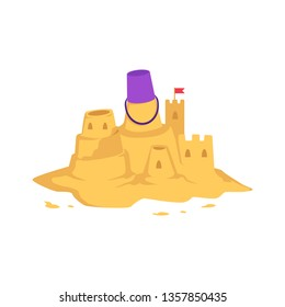 Sandcastle with kid toy bucket and little red flag in flat style isolated on white background - vector illustration of castle with tower made from yellow sand for summer seashore recreation concept.
