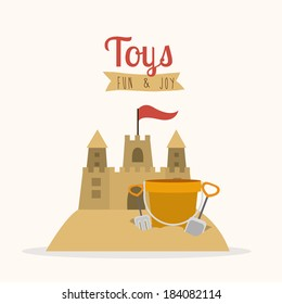 Sandcastle with shovel and bucket toys, vector illustration