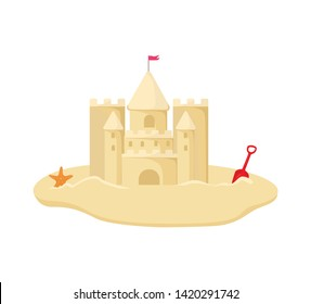 Sandcastle vector illustration. isolated on white. Castle of sand