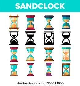 Sandclock Icon Set Vector. Timer Symbol. Interval Sandclock Icons Sign. Alarm Hourglass Pictogram. Line, Flat Illustration