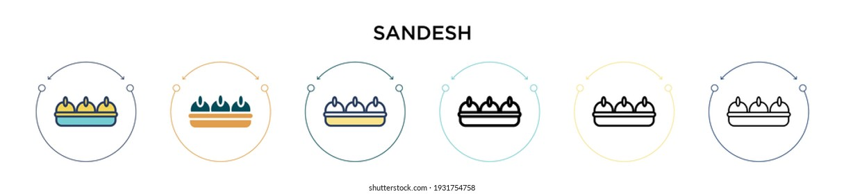 Sandesh icon in filled, thin line, outline and stroke style. Vector illustration of two colored and black sandesh vector icons designs can be used for mobile, ui, web