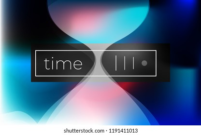 Sandglass abstract vector background. Futuristic colorful gradient with spots. Time concept.