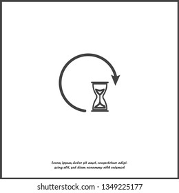 Sandglass clock icon. Flat image sandglass with shadow on white isolated background.  Layers grouped for easy editing illustration. For your design.