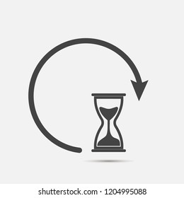 Sandglass clock icon on gray background. Flat image sandglass with shadow.  Layers grouped for easy editing illustration. For your design.