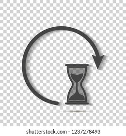 Sandglass clock icon on transparent background. Flat image sandglass with shadow.  Layers grouped for easy editing illustration. For your design.