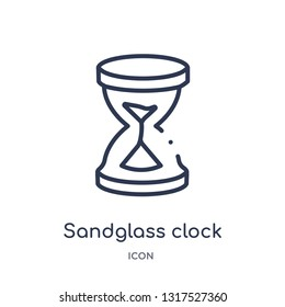 sandglass clock icon from time and date outline collection. Thin line sandglass clock icon isolated on white background.