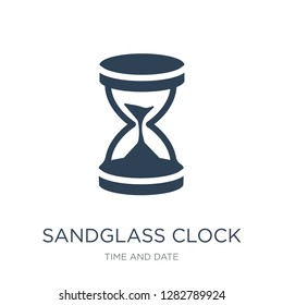 sandglass clock icon vector on white background, sandglass clock trendy filled icons from Time and date collection, sandglass clock vector illustration