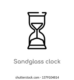 sandglass clock vector line icon. Simple element illustration. sandglass clock outline icon from time and date concept. Can be used for web and mobile