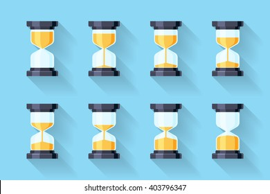 Sandglass flat icons with animation frames. Time hourglass, sandclock process timer, countdown. Vector illustration