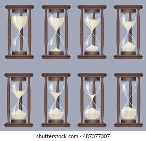 Sandglass icons animation set. Time hourglass, realistic sandclock process timer.