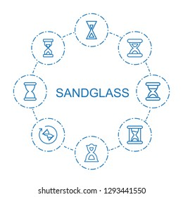 sandglass icons. Trendy 8 sandglass icons. Contain icons such as hourglass. sandglass icon for web and mobile.