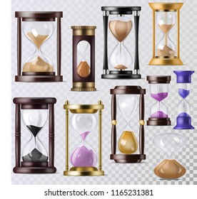 Sandglass vector glass clock with flowing sand and hourglass clocked in time illustration clocking alarm timer to countdown time set isolated on transparent background