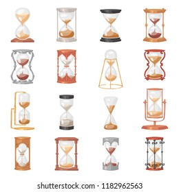 Sandglass vector glass clock with flowing sand and hourglass clocked in time illustration clocking alarm timer to countdown time set isolated on white background