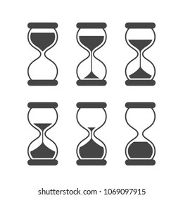 Sands of time, hourglass vector isolated symbols. Old sand clock animated vector icons. Black animated hourglass, timer sand, countdown sandglass animation illustration