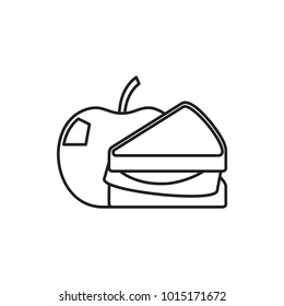 sandwich and apple icon illustration isolated vector sign symbol