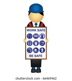 Sandwich board with construction health and safety message