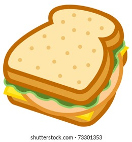 Sandwich with bread, lettuce, bologna or lunch meat and cheese