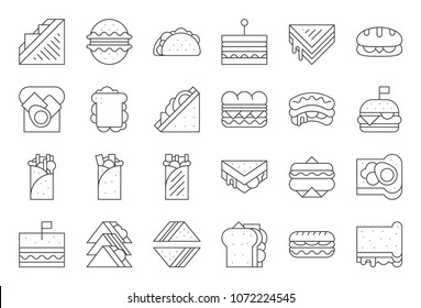 Sandwich, burger and shawarma, outline icon