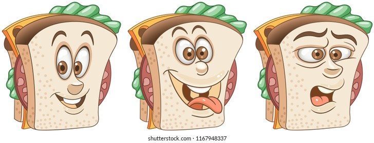 Sandwich. Burger. Snack Food concept. Emoji Emoticon collection. Cartoon characters for kids coloring book, colouring pages, t-shirt print, icon, logo, label, patch, sticker.