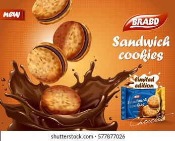 Sandwich chocolate cookies ad, delicious cookies dive into chocolate liquid with splashes, biscuit package design on orange background in 3d illustration