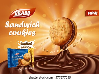 Sandwich chocolate cookies ad, yummy chocolate dripped from cookie with nut element, biscuit package design on orange background with glowing effect, 3d illustration