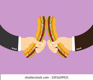 Sandwich clinking. Two male hands holding and clinking burger