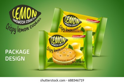 Sandwich cookie package design, foil bag food package in lemon flavour isolated on green background in 3d illustration