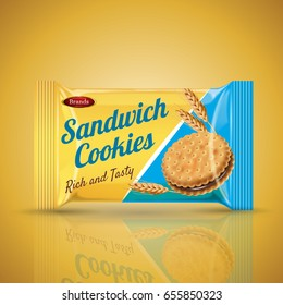 sandwich cookie package design, isolated orange background 3d illustration