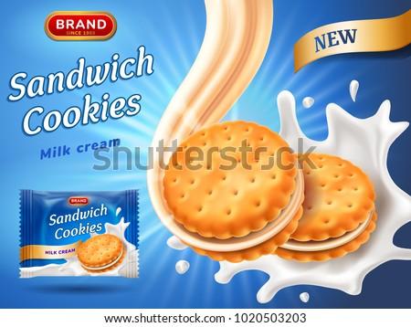 sandwich cookies ads delicious vanilla cream のベクター画像素材