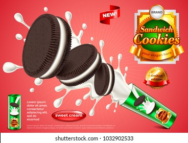 Sandwich cookies ads. Photo realistic vector background. 3d illustration and packaging