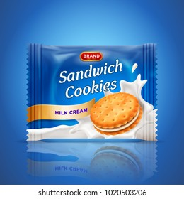 Sandwich cookies or cracker package design. Easy used template isolated on blue background. Food and sweets, baking and cooking theme. Vector realistic 3d illustration.