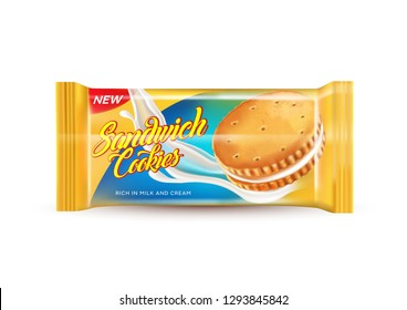 Sandwich cookies milk cream and packaging on isolated white background, Realistic vector 3D illustration. Of free space for your texts and branding.