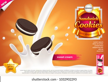 Sandwich cookies in pouring milk ads. 3d illustration and packaging