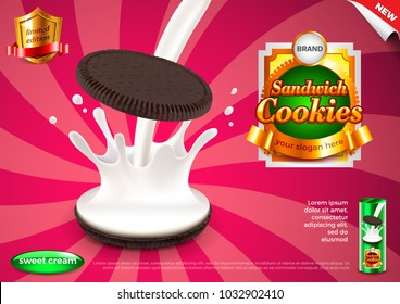 Sandwich cookies and pouring milk ads. 3d illustration and packaging