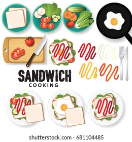 sandwich cooking ingredients vector illustration