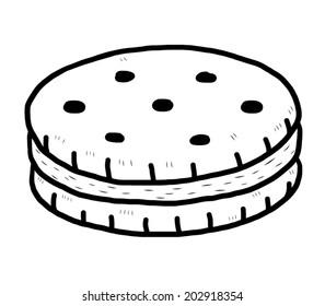 black and white cookie images stock photos vectors shutterstock https www shutterstock com image vector sandwich cracker cartoon vector illustration black 202918354