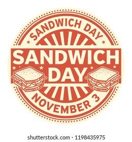 Sandwich Day, November 3, rubber stamp, vector Illustration