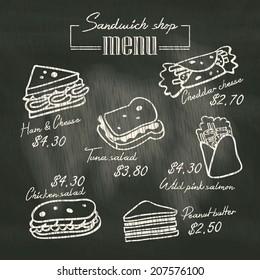 Sandwich doodle menu drawing on chalk board background
