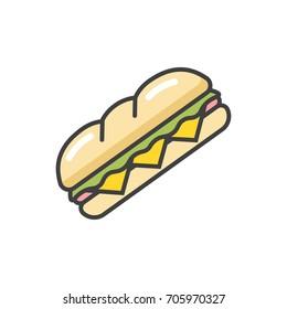 Sandwich flat line icon.
