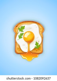 Sandwich with Fried egg. Fast food. Cooking lunch, dinner, breakfast. Natural product. Cooked omelet. Scrambled eggs. EPS10 vector illustration.