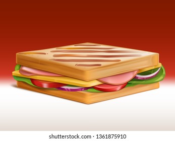 Sandwich with ham, cheese, tomato, onion and salad between two pieces of roasted in toaster wheat bread isolated 3d realistic vector. Tasty snack, easy to cook breakfast, street fast food illustration