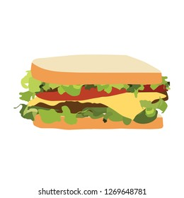 Sandwich with ham, cheese, tomatoes, lettuce, and toasted bread. Vector illustration