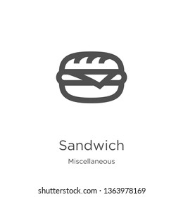 sandwich icon. Element of miscellaneous collection for mobile concept and web apps icon. Outline, thin line sandwich icon for website design and mobile, app development