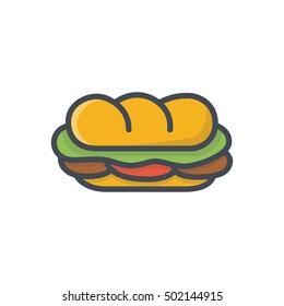 Sandwich Icon Fast Food Colored