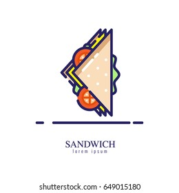 Sandwich icon on a white background. flat thin line icon. vector illustration