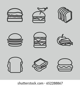 Sandwich icons set. set of 9 sandwich outline icons such as burger, bread slices, burger with pepper